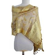 Old Gold Metallic Thread and Silk Indian Wedding Shawl