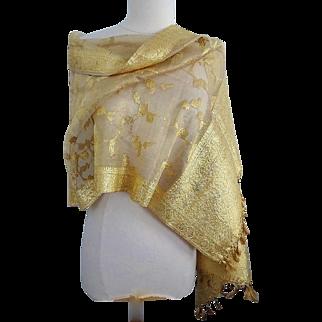 Old Gold Metallic Thread and Silk Indian Wedding Shawl