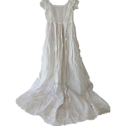 Antique Lace Trim Christening Dress Gown