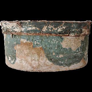Antique Wall Paper Hat Band Box Circa 1840s