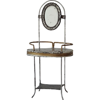 Antique Doll or Doll House Tin Wash Stand
