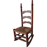 Old Doll House Ladder Back Rocking Chair