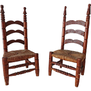 Old Doll House Ladder Back Chairs - Pair