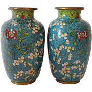 Old Cloisonne Vases - Pair