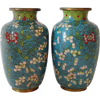 Old Cloisonne Vases - Pair