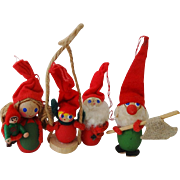 Vintage Hollime Denmark Christmas Elf Ornaments Set