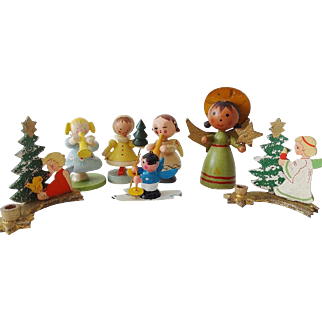 Vintage Christmas Angels Set Ornaments Italy