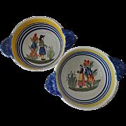 Old Quimper Soup Bowls - Breton Peasant