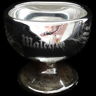 Antique Sandwich Mercury Glass Match Holder RARE