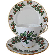Vintage Bone China Christmas Cup Saucer and Plate