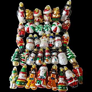 Vintage Set Miniature Figural Christmas Ornaments