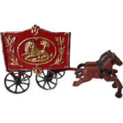 Old Cast Iron Circus Wagon and Horses Hubley