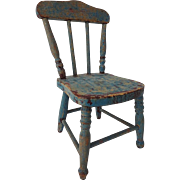 Old Blue Painted Doll Chair