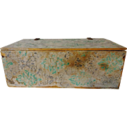 Antique Wall Papered Box 19th C