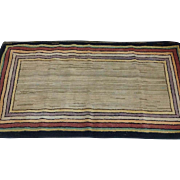 Old Geometric Hooked Area Rug