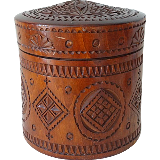 Antique Russian Hand Carved Tobacco Jar