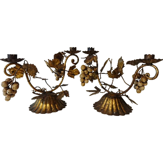 Vintage Tole Grapes & Leaves Candle Holders