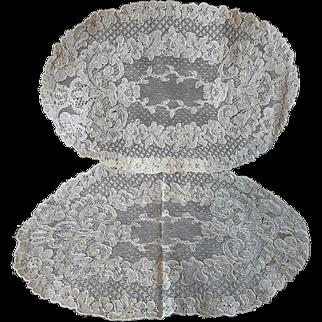 Old Alencon Lace Doilies Set