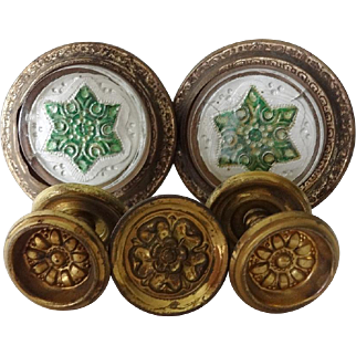 Victorian Glass Sulfude and Brass Tie Backs