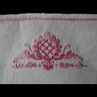 Vintage Embroidered Linen Cocktail Napkins Set