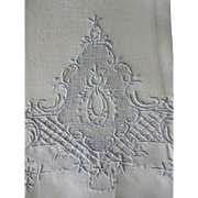 Old French Embroidered Linen Hand Towels - Appenzell Type