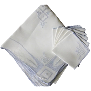 French Appenzell Type Embroidered Table Cloth with Napkins