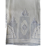 French Linen Blue Embroidery Hand Towels  - Deco