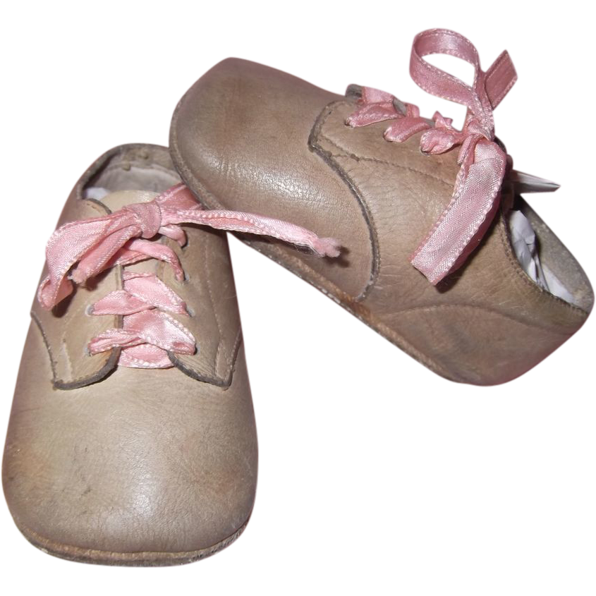 soft vintage leather baby shoes for large bisque or