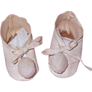 Oil Cloth Doll Shoes w/ Pom Poms for Composition or Bisque
