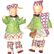 Pair of Composition Doll House Miniature Boy and Girl Doll