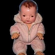 """Beautiful Effanbee Mold 1 Brunette Dy-Dee 15"""" Baby Doll w/ Eiderdown Snow Suit"""