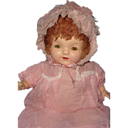 Adorable Pretty In Pink Wigged Composition Baby Doll