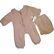 "Effanbee Authentic Dy-Dee Eiderdown Snowsuit with Bonnet for 15"" Baby Doll ~ TLC"