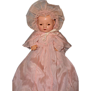 """Authentic Effanbee Dy-Dee Silk Christening Gown w/ Bonnet for 15"""" Baby Doll"""