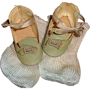 "Authentic Effanbee Oil Cloth Shoes for 20"" Mama Doll w/ Socks"