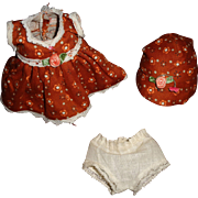 "Adorable 9"" Effanbee Patsyette Composition Doll 3 Pc Dress Set"