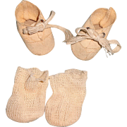 Small Oil Cloth Shoes and Socks for Composition or Bisque Doll