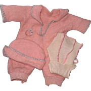 """Authentic Effanbee Dy-Dee Baby Eiderdown Jump Suit Set with Extras for 11"""" Baby Doll"""