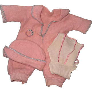 "Authentic Effanbee Dy-Dee Baby Eiderdown Jump Suit Set with Extras for 11"" Baby Doll"
