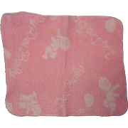 Rare Effanbee Dy-Dee Baby Signature Eiderdown Pink Blanket