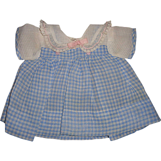 "Effanbee Authentic Dy-Dee  Blue Gingham Window Pane Dress for 15"" Baby Doll"