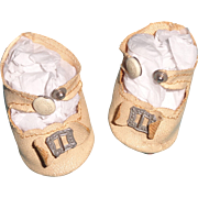 Oil Cloth Buckle Shoes for Composition or Bisque Doll