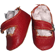 Red Oil Cloth Shoes for Composition or Bisque Doll
