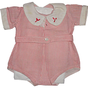 """Authentic Dy-Dee Seersucker Red/White Sun Suit/Romper for 15"""" Baby Doll"""