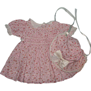 Authentic Effanbee 1940s Dress and Bonnet Set for Composition Doll