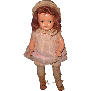 Factory Original Small Effanbee Composition Mama Doll in Tagged Outfit