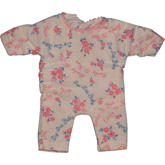 """Very RARE Effanbee Dy-Dee WEE Signature Back drop Pajamas for 9"""" Doll"""