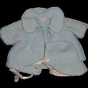 "Effanbee RARE Dy-Dee WEE  Eiderdown Coat & Bonnet Set for 9"" Doll"