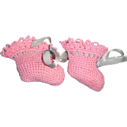 """Authentic Effanbee Dy-Dee Pink Booties for 15"""" Baby Doll"""