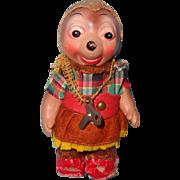 1940s Key Wind Up Mechanical Composition Hedgehog Doll Toy